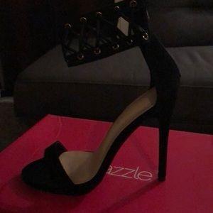 Black suede dress sandals